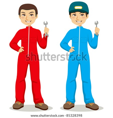 Twin mechanic workers with red and blue overalls holding wrench and spanner tools - stock vector