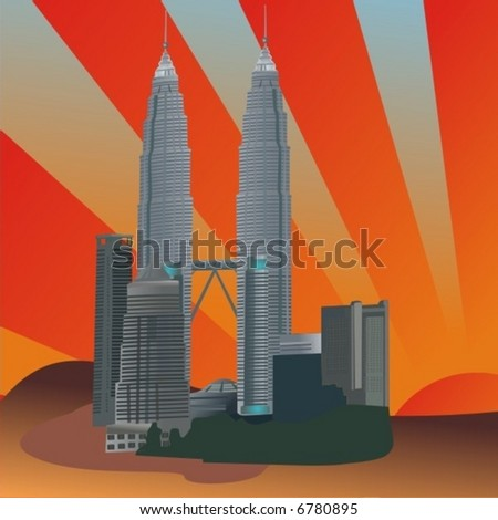 Twin Towers-Malaysia city - stock vector