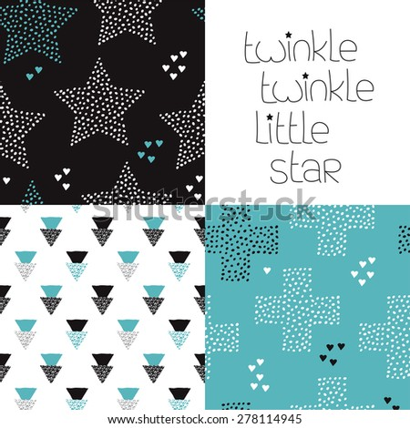 Twinkle little star postcard hand lettering and geometric seamless stars night theme kids abstract background pattern in vector - stock vector