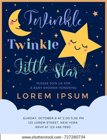 Twinkle Twinkle Little Star Text Cute Stock Vector 2018 727280734