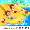 Twins are playing on the beach. Vector and cartoon illustration. - stock vector