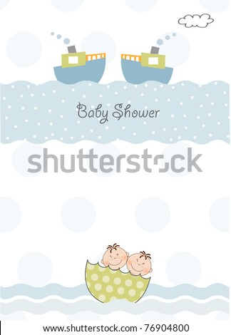 twins baby shower invitation - stock vector