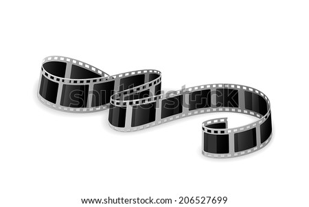 Twisted cinema film isolated on white background, illustration. - stock vector