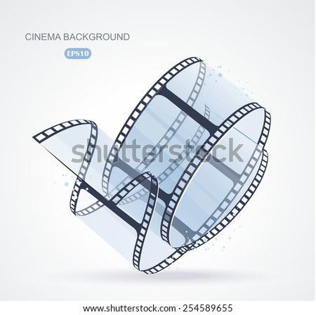 Twisted film for photo or video recording on white, vector illustration - stock vector