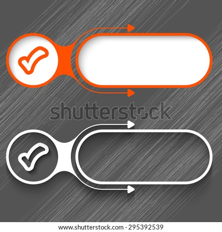 Two abstract frames with arrows and check box - stock vector
