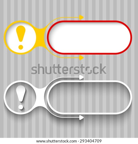 Two abstract frames with arrows and exclamation mark - stock vector