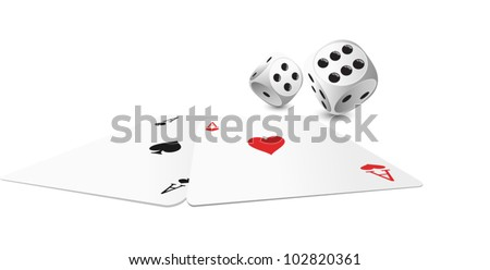 two aces and white dice