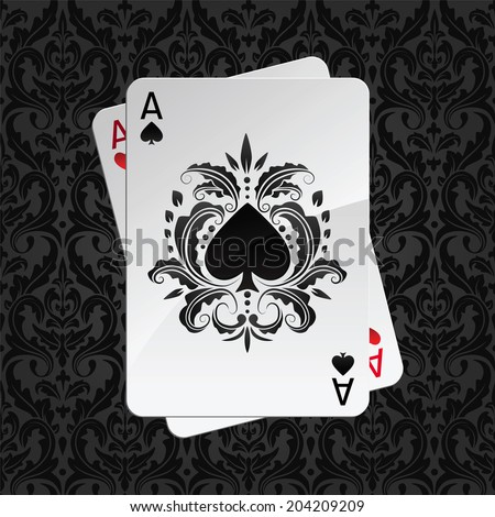 two aces playing cards on black seamless damask pattern(spades overlies) - stock vector