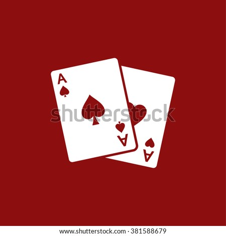 Two aces. Winning poker hand - stock vector
