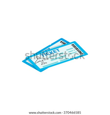 Two airline ticket 3d isometric icon isolated on a white background - stock vector
