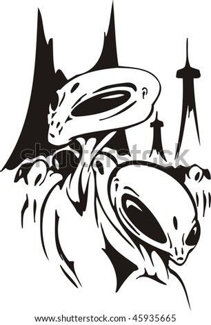 Two aliens against city crowd vector illustration ready for vinyl