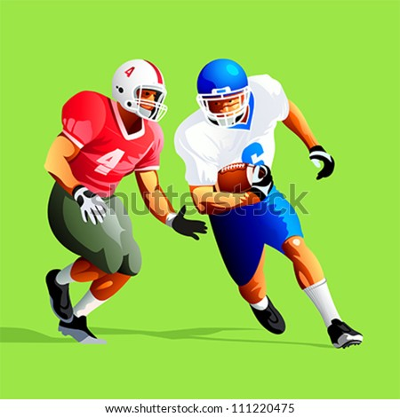 Two american football player fighting for a ball - stock vector