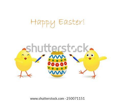 Two amusing Easter chicken and painted egg on white background, illustration - stock vector