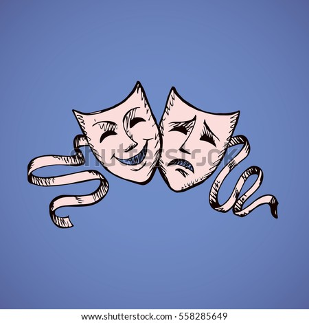 Two ancient traditional greek game human masks costume isolated on dark blue background. Outline ink hand drawn concept picture sign sketchy in retro artistic doodle graphic style