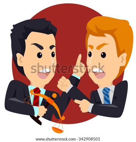 Two Angry Business Man Arguing Talking - stock vector