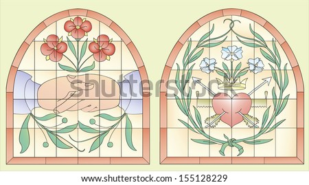 Two antique stained-glass window with symbols of love and understanding