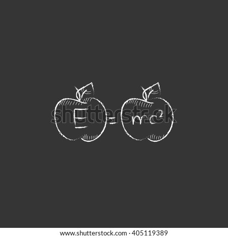 Two apples with formulae. Drawn in chalk icon. - stock vector