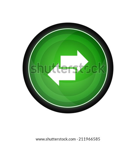 Two arrows glossy vector icon, button