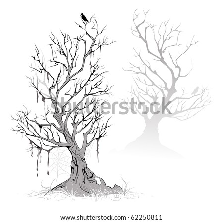 Two artistic painted, dead, dried tree on a foggy, terrifying swamp. - stock vector