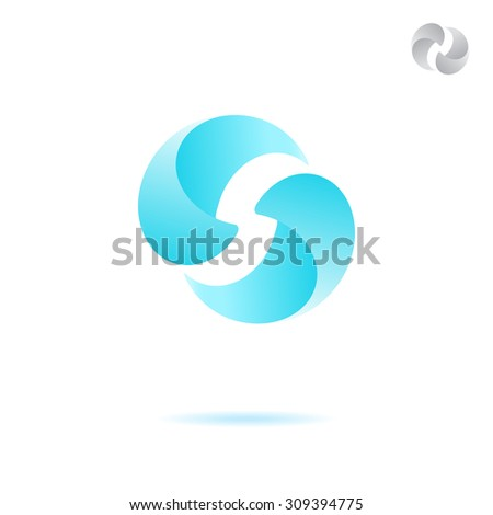 Two attracted water drops, water cleaning concept, 3d vector, eps 8 - stock vector