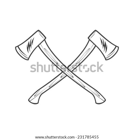 Two axes with wooden handles vector illustration - stock vector