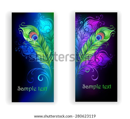 two banners with colorful peacock feathers on a black background.  - stock vector