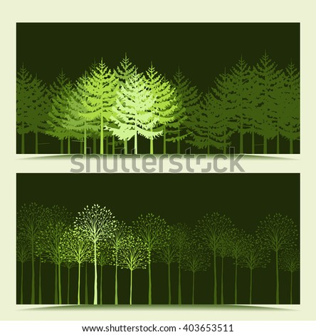 Two banners with the background landscape with trees - stock vector