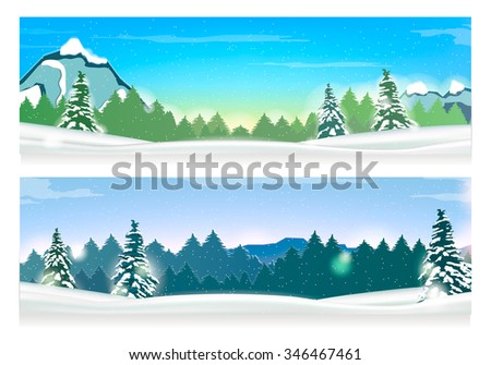 Two Banners with Winter Landscape and Snow Mountains. Vector.