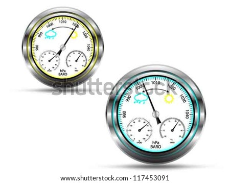 Two barometer instruments,with light indicator in two colors, depending on air pressure, with metal frame, isolated on white,vector - stock vector