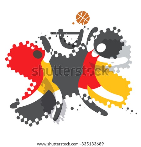 Two Basketball players. Two abstract  Basketball players in action  on the grunge background. Vector  available.  - stock vector
