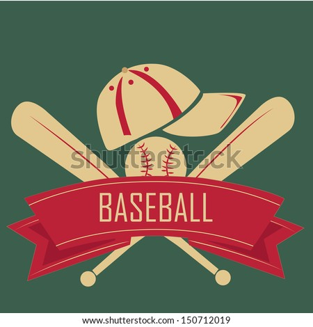 two bats of baseball with hat and ball and a red ribbon in a green background - stock vector