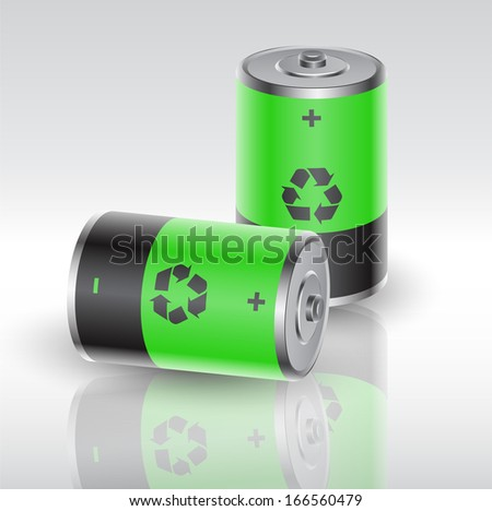 two batteries charged with renewable energy, vector eps10 illustration - stock vector
