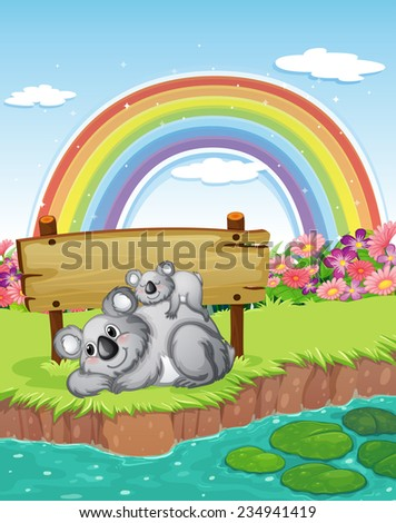 Two bears near the empty signboard with a rainbow in the sky - stock vector