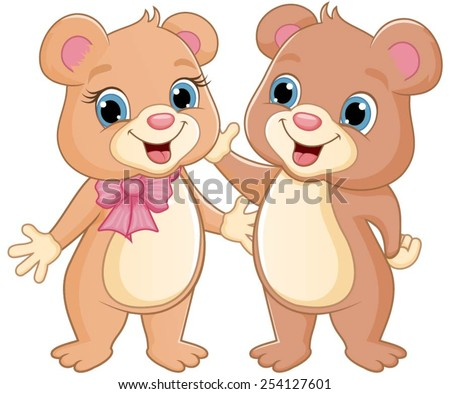 Two bears standing together happily. - stock vector