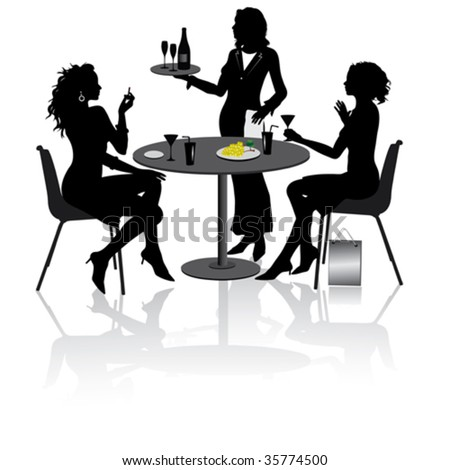 Two beautiful girlfriends sit and talk in Restaurant - stock vector