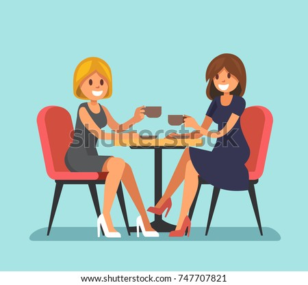 Two beautiful women sitting in a cafe. Vector flat style