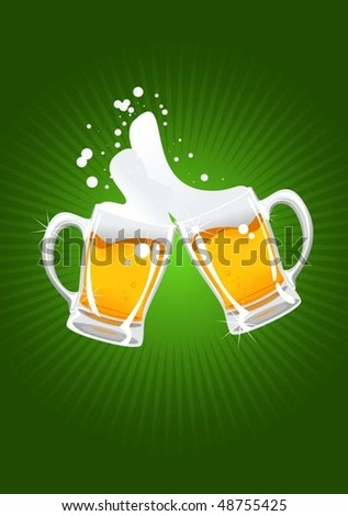 two beer mugs - stock vector