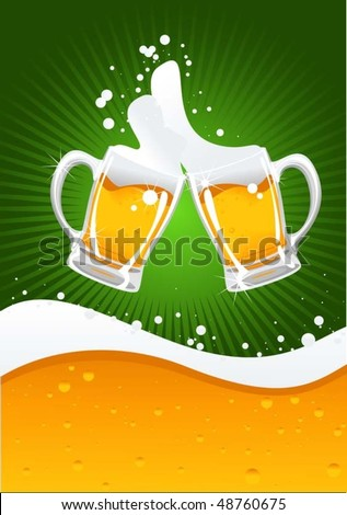 two beer mugs and beer wave - stock vector