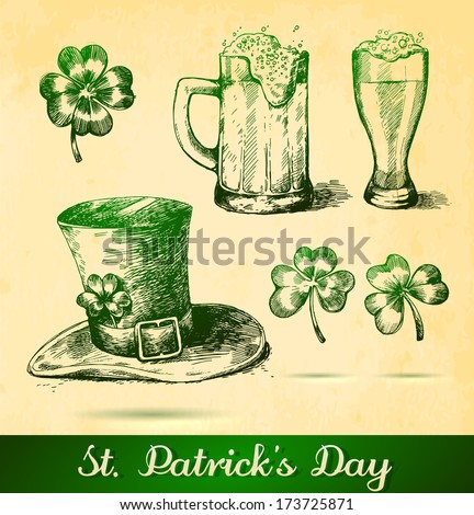 Two beers with clovers for St Patrick's day. St. Patrick's hat with four-leaf clover and paper background - stock vector