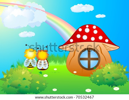 Two bees sitting on the green lawn near the house of the mushroom, and admiring the rainbow