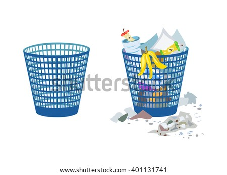 two bins, full and empty. vector illustration