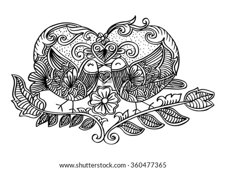 Two birds and heart with floral. Doodle illustration.