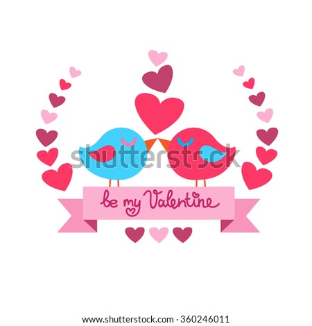 Two Birds Kiss Heart Shape Valentine Day Red Background Vector Illustration
