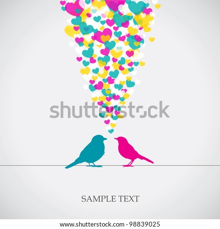 Two birds, love colorful card. Can be used for postcard, valentine card, wedding invitation - stock vector