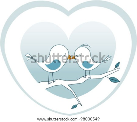 two birds on a branch kissing