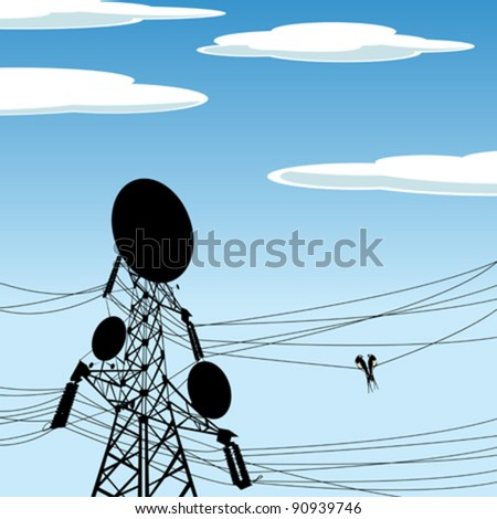 Two birds on a wire of a electric pole with antena