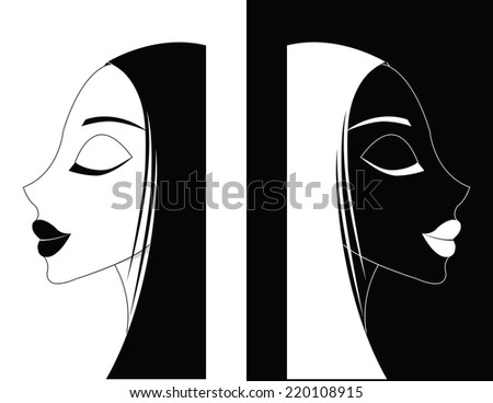 two black and white Girl or  Women ying-yang - stock vector