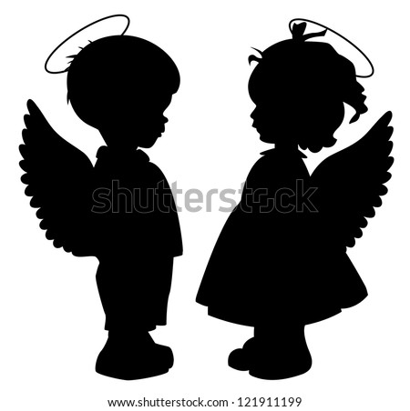 Two black angel silhouettes isolated on white - stock vector