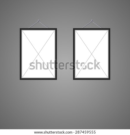 two black borders, on the hook for posting photos - stock vector