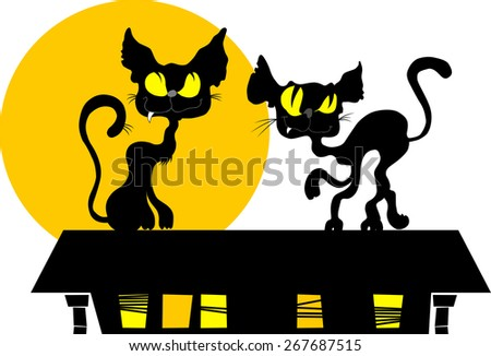 Two black cats on the roof under the yellow moon, vector - stock vector